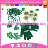 St. Patrick's Day Dress up Set: Shamrock Beads Necklace's, Tattoos, Shamrock Shutter Glasses, Head Bopper, & Acrylic Irish Print