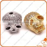 BJ4529 Best sell micro cz zircon bead, pave skull bead for jewelry making
