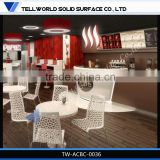 2014 modern popular luxury boat shape artificial marble coffee bar counter furniture for sale
