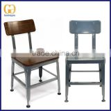 Metal cafe lyon dining chairs with wooden or PVC cushion seat, modern coffee shop lyon chair