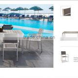 2015 Garden fashion brushed aluminum UV Plastic Wood dining table and chair WPC Commercial Furniture