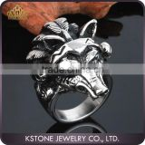 KSTONE Men's Silver 316L Stainless Steel animal skull biker ring
