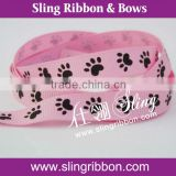 Good Quality Paw Print Grosgrain Ribbon