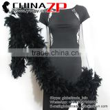 Leading Supplier CHINAZP Good Quality 150 Gram Weight Dyed Black Turkey Chandelle Feathers Boas