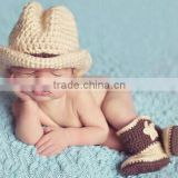 Baby photography props wool winter cowboy hat and sets for 0-6 months baby made in china