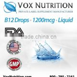 Vitamin B-12 Drops 1200 mcg. Supplement Bulk Liquid - Private Label Vitamin B-12 Drops Supplement