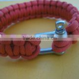 Multi Color 3/4' 1' Width 550 Paracord Survival Bracelet with Adjustable shackle or Plastic Buckle
