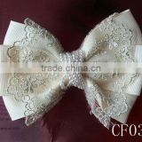 CF0386 New arrival fashion large ivory pearl center lace CF0386 New arrival fashion large ivory pearl center lace hair bow