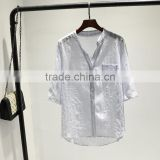 GZY white linen fabric for shirt long sleeve stock export china 2017 wholesal guangzhou comfortable and causal model