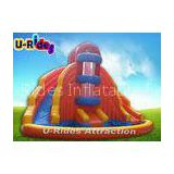 Orange Rotating Inflatable Swimming Pool With Slide / Outdoor Huge Water Park Equipment