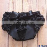 Latest Design Baby Shorts Infant Girls Black Rosettes Bloomers with Bow IM-BB001