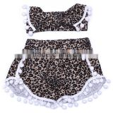 2016 Hot floral pom pom shorts girls pompom shorts matching with headband