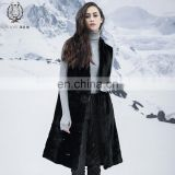 Ladies Double Face Fur Vest Reversible Genuine Mink Fur Waistcoat Cool Black Mink Fur Down Gilet