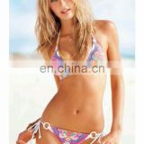 Beach Sexy - Neon Paisley Push-Up Triangle Bikini Top