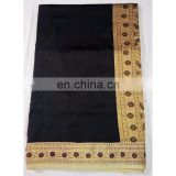 Women's Designer Wedding Wear Black Handmade Valkalam Banarasi Silk Bridal Saree Party Wear Dress