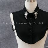 Detachable Black White Women Shirts Fake Collar with Crystal Rhinestone