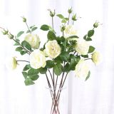 Cheap Price Faux Flowers 2 Heads Silk White Crystal Rose