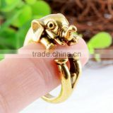 New fashion cheap gold plated brass alloy animal design finger ring from China