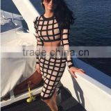 Summer dress wholesale 2015 new beige black white mesh long sleeve sey three piece set bodycon women summer evening party bandag