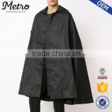 OEM new style mens black cotton winter cape poncho coat