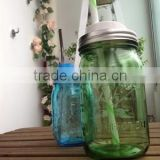 32oz high quality blue glass mason jar with straw