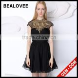 Factory price new arrival ladies diamond black 100% handmade ladies mini skirt long sleeve lace wedding dresses