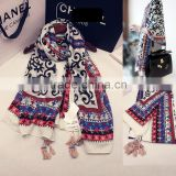 Hot Selling Fashion Vintage Flower Printed Beaded Tassel Womens Shawls                                                                         Quality Choice