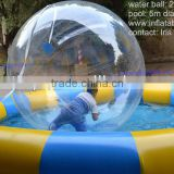 human hamster ball in pool