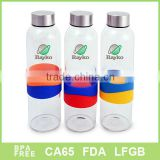 Glass bottle with Silicon band, 2013 new bottle, Glass mug