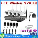 4CH CCTV Camera System waterproof wifi nvr kit camera Wireless wifi ip camera nvr kit, 720P 1.0 megapixel wifi security camera