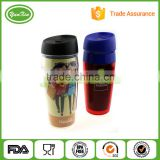 Promotion wholesales plastic double wall tumbler mug with paper insert with non-spill lid