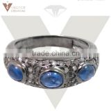Pave Diamond Top Design Blue Sapphire Ring Sterling Silver Jewelry Ring Jewelry Sapphire Women Ring
