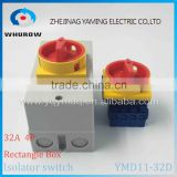 Isolator switch with protective box cover waterproof YMD11-32D 4P IP66 OFF-ON rotary changeover switch on-off power cutoff