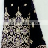 CL9379-1 royal blue newest style African big embroidered velvet material with sequins or crystal stones softly