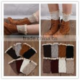 Lovely fashion 100% cotton knee high socks,sexy knee high sock for girls,lace-boot-cuff-socks,women sex leg warmer