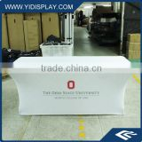 Fabric banner advertising restaurant table cloth