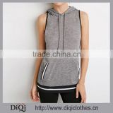 New Design Lightweight Marled Fabric Women Contemporary Strip -Trimmed and Hem Hooded Tank Top
