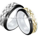 Stainless steel & Black ceramic combied wedding bands, fashion stainless steel jewelry, special design rhombus ceramic rings