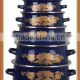 Gold Flower Print Navy Blue Decal Double Handle Enamel Cookware Set Kitchenware Enamel Pot 5 Pcs Stock Belly Pot With Lid