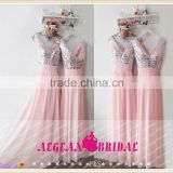 B12 V Neck Chiffion A Line Beach Style bridesmaid dress Light Pink Sequins Long vestido de madrinha longo