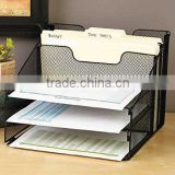 Metal Mesh Desktop File Sorter Organizer Desk Tray Organize with 3 Letter Trays and 2 Vertical Upright Sections