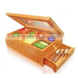 hot selling FSC&BSCI bamboo wooden dinner table tea bags packaging storage chest gift box