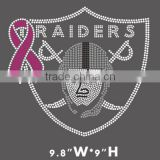 Raiders ALI Strass Hotfix Crystal breast cancer ribbon Motif Rhinestone Transfer Iron On T-shirts