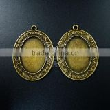 30*25mm setting size brass bronze filigree simple oval bezel tray DIY pendant charm supplies 1421080