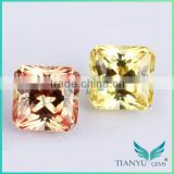 2015 wuzhou gemstone free samples princess cut shape synthetic yellow sapphire price