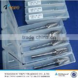 Tungsten carbide burrs set with 1/4 inch shank