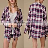 Western Style Europea Lady Hot Sale Spring Autumn Shirt Cardigan Open Front Plaid Button Up Style Casual Cardigan