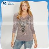 beaded design womens long sleeve fabric applique burnout t shirts wholesale