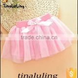 baby pink solid color tutu children dance wear cloting girls skirts pettiskirts with bow