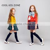 STOCK available!COOL KID ZONE autumn winter new design 100%cotton long sleeve mini girl skirts and tops suit girl skirts